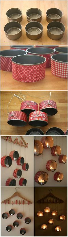 How to DIY Hanging Tin Can Candle Holder #craft #decor #recycle