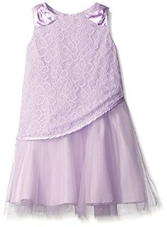 af6198422 Amazon.com: Lavender Slim Girls Sleeveless Lace Bodice with A Layered Tulle  Skirt Dress, Lilac, 2T: Clothing
