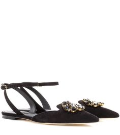 Dolce & Gabbana - Bellucci embellished suede sandals - Dolce & Gabbana's Bellucci sandals come adorned with glistening crystals for a decidedly opulent finish. Crafted in Italy from supple suede, this chic pair are flat for comfort and feature a dainty strap that artfully wraps around the ankle. Wear yours with tailored trousers and evening dresses alike. seen @ www.mytheresa.com