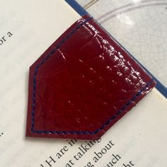 New textured leather bookmark, burgundy Mock croc, très chic!