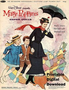 Vintage Disney Mary Poppins Printable Paper dolls w/  Michael Jane & 27 Outfits 1966 Whitman 12 Digital Sheets Collage / Playtime Toys on Etsy, $7.50