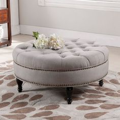 Have to have it. Baxton Studio Palfrey Round Ottoman - $341.99 @hayneedle Round Tufted Ottoman, Tuffed Ottoman, Large Round Ottoman, Round Sofa, Ottoman Table, Tufted Bench, My Dream Home, Beige, Fancy Living Rooms