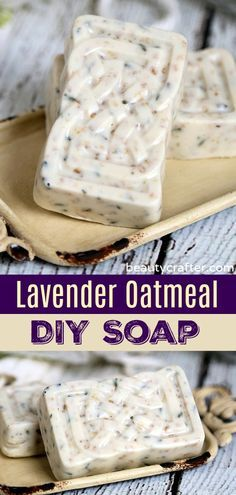 Lavender Oatmeal Soap – DIY Soap – melt & pour soap Lavender Oatmeal So… Handmade Soap Recipes, Soap Melt And Pour, Oatmeal Soap, Easy Diy Gifts, Fun Gifts, Glycerin Soap, Goat Milk Soap, Recipes For Beginners, Home Made Soap