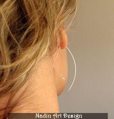 Sterling Silber Halbmond Ohrringe. Elegant Schmuck von NadinArtDesign auf DaWanda.com