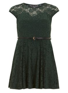 Mela Green Lace Belted Dress