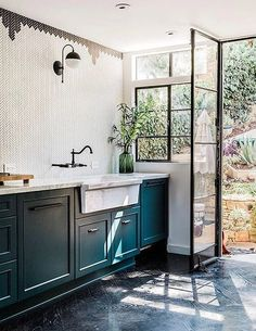 dark blue kitchen cabinets. / sfgirlbybay