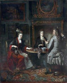 c. 1720 Afternoon Tea in Holland by Matthijs Naiveu (1647–1726)