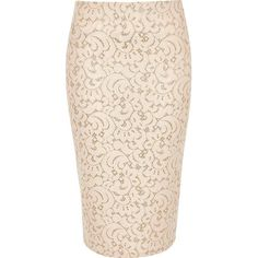 River Island Pink lace glitter high waisted pencil skirt ($56) ❤ liked on Polyvore featuring skirts, high-waisted skirts, high-waisted pencil skirts, knee length pencil skirt, high waisted skirts and lace midi skirt