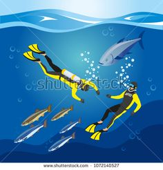 Stock Vector: Underwater depths research, divers with scuba equipment and fishes, composition on blue background, isometric vector illustration
