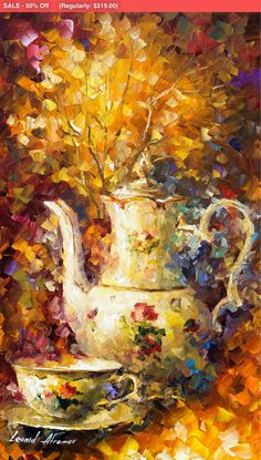 OIL ON CANVAS PAINTING DIRECTLY FROM FAMOUS ARTIST LEONID AFREMOV  Title: 5 Oclock Tea Size: 20 x 30 inches (50 cm x 75 cm) Condition: Excellent Brand new Gallery Estimated Value: $ 4,500 Type: Original Recreation Oil Painting on Canvas by Palette Knife  This is a recreation of a piece which was already sold.  The recreation is 100% hand painted by Leonid Afremov using oil paint, canvas and palette knife.  Its not an identical copy , its a recreation of an old subject. This recreation will…