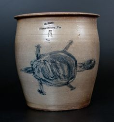"Extremely Rare One-and-a-Half-Gallon Stoneware Cream Jar with Cobalt Turtle Decoration, Stamped ""D. Ack /  Mooresburg, Pa.,"" circa 1875,  $5,750"