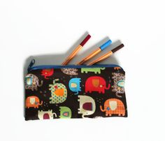 Zippered pencil pouch Elephants zip bag pencil by Sunchildsews Shops, Pencil Pouch, Toiletry Bag, Unique Art, Elephants, Back To School, Coin Purse, Etsy Shop, Zipper