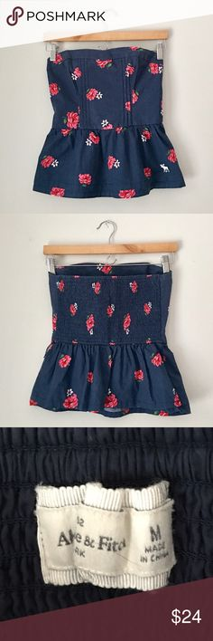 Abercrombie & Fitch Floral Corset Top Strapless corset top in blue with pink flowers by Abercrombie & Fitch. 100% cotton. (Sash not included). Size Medium. EUC. Abercrombie & Fitch Tops