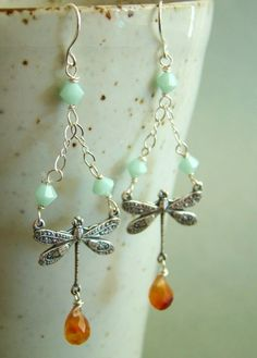 Dragonfly chandelier insect brass charm orange agate by joypeckjoy, $18.00