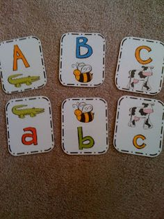 Preschool Printables: Alphabet cards- many types, though i don't see the one from the picture Preschool Letters, Preschool Printables, Learning Letters, Kindergarten Reading, Preschool Kindergarten, Fun Learning, Preschool Activities, Teaching Kids, Time Activities