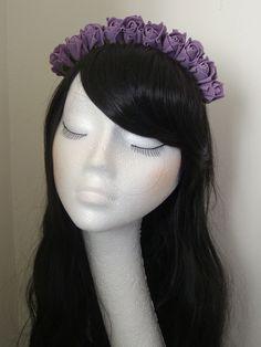 Rose Floral Flower Garland Crown Headband Hair Band Bridal Festival VTG Lilac