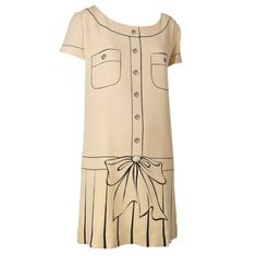 1stdibs | Vintage Moschino Couture Painted Dress-Tan w/Brown