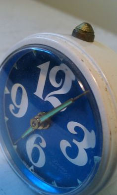 Sweet White and Blue Alarm clock From West Germany by shabbychatue, $10.00