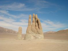 Deep in the the Atacama desert in Chile emerges a giant sculpture of a hand. A popular photo spot for tourist visiting the Atacama. The hand was constructed at an altitude of 1,100 meters above sea level.