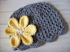 Hand Crocheted Hat with Crocheted Flower Clip by KurliCuesBoutique, $13.00