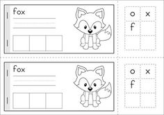 Worksheets & Activities - Autumn (Beginning Skills). A page from the unit: Build-a-word mini book: children read the word, write the word, then build the word with the letter tiles (or stamp the word).