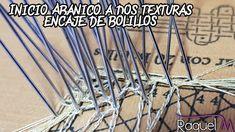 Inicio Abanico n°9 a dos colores. Bolillotutorial Raquel M. Adsuar Bolil...