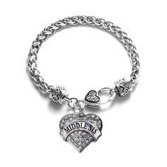 Middle Sis Pave Heart Silver Charm Bracelet