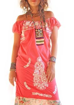 De Rosa beautiful Mexican embroidered pink dress