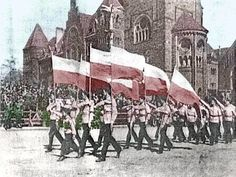 Pre-war Poland. Nationalist groups using the 'stiff-arm' or Roman salute.