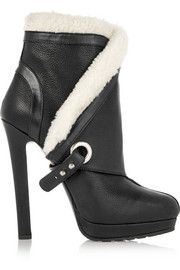 Alexander McQueenShearling-trimmed textured-leather ankle boots