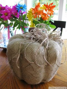 Autumn Decorating with Burlap | Ramblings of a Southern Girl: burlap pumpkins | Fall Decorating