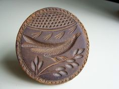 Rare Antique BIRD motif Butter Print. Biird Butter Stamp. Butter Mold/Press Hard one to find and very stylistic