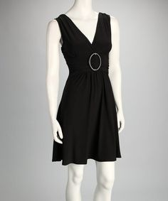 Take a look at this Black Banded Dress by Star Vixen on #zulily today!