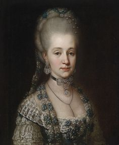 Portrait of Maria Christina, Duchess of Teschen with pearl pin hair jewelry (1770) by unknown artist.