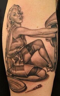 Mechanic Pin Up Tattoo Designs