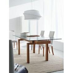 Calligaris wood table, glass top, 160x99 cm, extendable (CS416-XR Hyper) | Sediarreda Online sale
