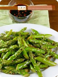 Sweet and Spicy Szechuan Asparagus  I think this would also be good served cold.