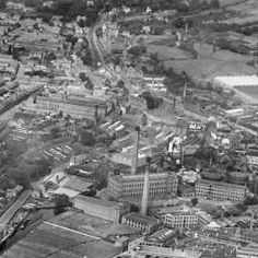 Carpet Works and factories in the town centre, Kidderminster, 1930 | Britain from Above