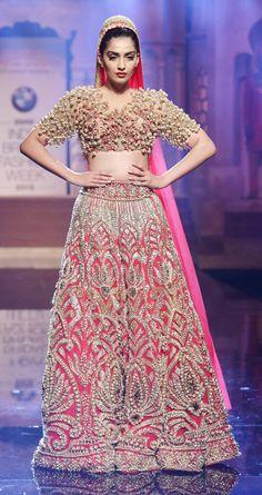 Sonam Kapoor in a Abu Jani and Sandeep Khosla golden gown at the India Bridal Fashion Week. #Bollywood #bmwibfw #Fashion #Style #Beauty #Desi #Stunning