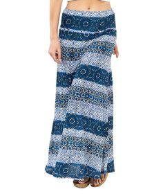 Look at this Luv2Luv Navy & Light Blue Stripe Maxi Skirt - Women on #zulily today!