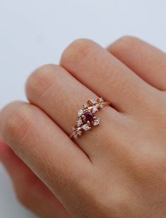 24d2bb37d Rose gold engagement ring Diamond Cluster ring Unique Ruby engagement ring  Delicate leaf wedding women Bridal