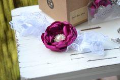 Bridal wedding accessory, bridal garter with purple lila flower, floral wedding accessories– a unique product by MYbouquet via en.dawanda.com
