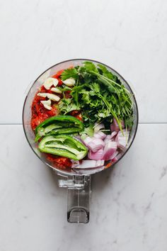 EASY Perfect Red Salsa! 1 bowl, 8 ingredients, SO flavorful! #vegan #glutenfree #plantbased #salsa #recipe #minimalistbaker