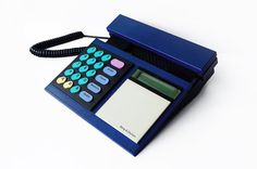 BANG & OLUFSEN Telephone Beocom 2000 Royal Blue Phone Corded Analog Designer Modern Minimalist Danish 1986 Multicolor 80s Vintage Retro