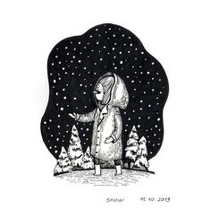 I'm catching up with this year I thought I'd rather try to enjoy drawing vs rushing thourhg the month. So I'm making very few drawings but get more time to think it through and to get inspired. Winter Illustration, Book Illustration, Yellow Art, Autumn Art, Inktober, Things To Think About, Darth Vader, Sketches, Snow