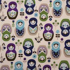 big matryoshka dolls Kokka fabric babushka purple
