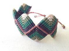 Forest Micro Macramé Bracelet/Green Brown and White by tfmmacrame, $30.00