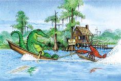 Cajun gator with crawfish water skiing behind the jon boat Louisiana art humor