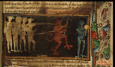 Detail of miniature of a devil holding a hook encircling naked people with a rope.