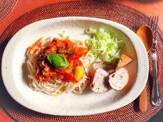 全粒麺でトマトパスタ
